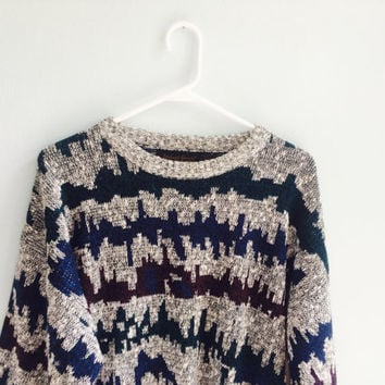 crazy vintage 90s grunge oversized hipster sweater/ grandpa cozy sweater