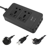 Universal USB Power Strip Extension 4-Port USB Wall Socket Adapter Portable Charger AC Power Strip Protector Desktop