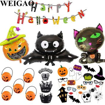 WEIGAO Halloween Decoration Horror Bunting Flags For Kids Bat Pumpkins Skull Shape Foil Balloons Mustache Party Props Tablecloth