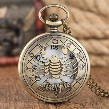 Antique Hollow Scorpio Constellation Pocket Watch Astrology Style Cover Teen Clock Best Gifts for Young Lover Couple Anniversary
