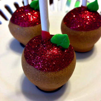 12 Salted Caramel Apple Cake Pops Carmel Fall Halloween Party Favors Candy Buffets Sweets Table Carnival Circus Back to School