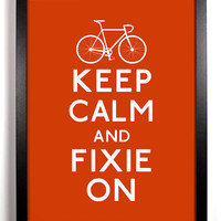 Keep Calm and Fixie On Bike Bicycle 8 x 10 by KeepCalmArsenal