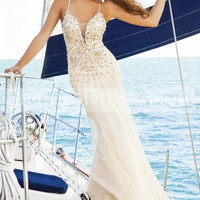 [ $205.69 ]Stunning Spaghetti Strap Beaded Chiffon Gown With Crisscross Open Back