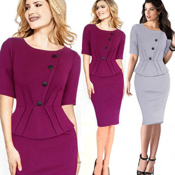 Oblique Button Detail Peplum Waist Pencil Midi Dress