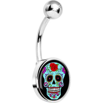 Blue Sugar Skull Belly Ring