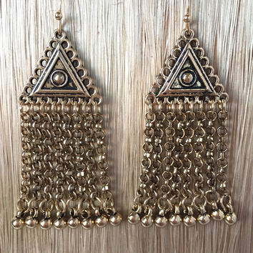 Brass Nile Fringe Earrings