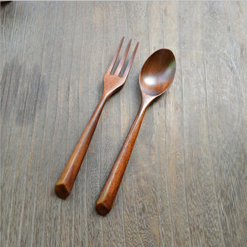 Cherry Wooden Spoon And Fork