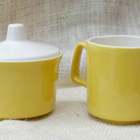 Mid century Yellow and white cream and sugar set // Vintage Creamer