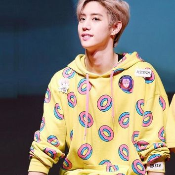 Got7 Mark Donuts Hoodie Round Neck Hoodies Exo Hoodie Bts GOT7 winter Kpop Clothes Sweatshirt k-pop korean ulzzang