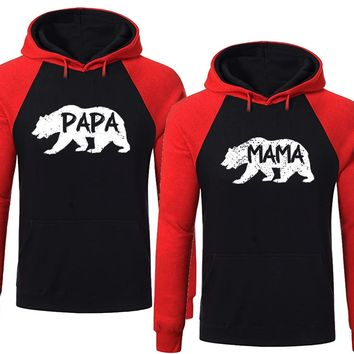 BOLD Bear Family Hoodies for Mama Bear & PAPA Bear Pullover Sweater-Black Red -Price for 1
