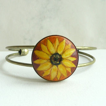Lovely Hand Painted Bracelet, Sunflower Bangle Bracelet, Brass Jewelry,  Adjustable Flower Bracelet, Painting Sunflower, Warm Colors