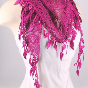 Pink Crochet Leaf Fichu Vintage Roses Scarf Shawl Cowl Triangle Sheer Hijab Fashion Lightweight Women Accessories by Creations by Terra