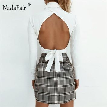 Nadafair sexy backless bow lace-up black white knitted t shirts women tees autumn winter turtleneck long sleeve sweater tops