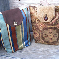 Gift Bags Reusable Coffee Brown Dusty Aqua Rust Olive Gold Christmas Holiday (Set of 2) Hostess --US Shipping Included