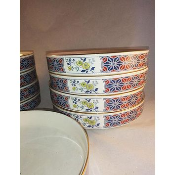 Noritake Cathay Blue And Yellow Flowers Berry/Dessert Coupe Bowls