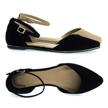 Confess01 Black By Bamboo, Gold Trimmed Outsole Flat w Double Open Shank D'Orsay & Ankle Strap