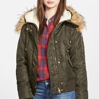 Women's GUESS Hooded Satin Bomber Jacket with Faux Fur Trim & Faux Shearling Lining,