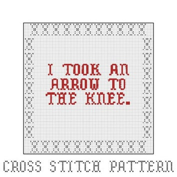 Arrow To The Knee, Cross Stitch Pattern, Elder Scrolls, Skyrim, Gaming, Video Games, Home Decor