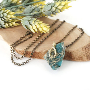 Raw Turquoise Stone Necklace with Matte Gold Wishbone Charm, Natural Turquoise Jewelry
