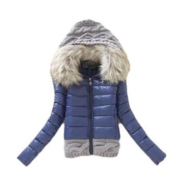 2016 New Winter Thickening With a Hood Short Design Wadded Jacket Large Fur Collar Down Jacket Cotton-Padded Fur Collar LG222