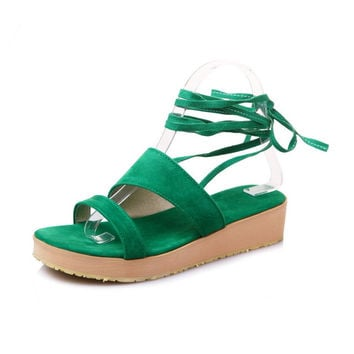 Flock Leather women shoes sandals Sweet style Cross-Strap Lace-Up Wedges Casual Gladiator Women sandals big size 34-47