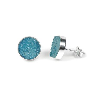 11mm Round Sterling Silver Genuine Druzy Agate Earrings - Blue
