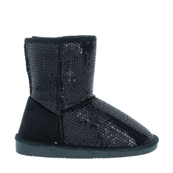 Sequin Kids Snow Boot (BLACK)