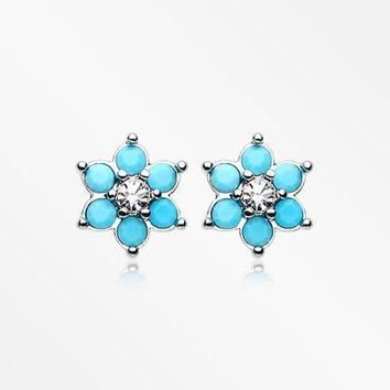 A Pair of Turquoise Spring Flower Sparkle Ear Stud Earrings