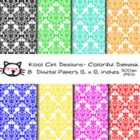 Damask Digital  Paper Pack - Colorful Damask Papers -Damask Patterns - Scrapbooking - Printable Paper - Paper crafts - Card making