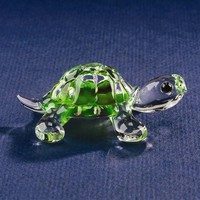 Small Turtle Glass Figurine w/ Swarovski Elements