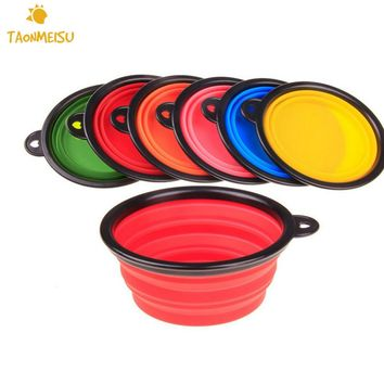 Collapsible Portable Fold able Silicone Pet Food or Water Bowls