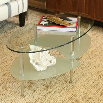 Mesmerizing Wave Oval Coffee Table by Walker Edison