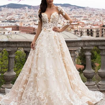 Dreagel Romantic Princess Long Sleeves A-line Wedding Dress 2017 Luxury Lace Appliques 3D Flowers Bridal Dress Vestido de Noiva