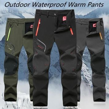 New Mens Spring Outdoor Thin and Thick Waterproof Hiking Trousers Camping Climbing Fishing Skiing Trekking Softshell Fleece Pant