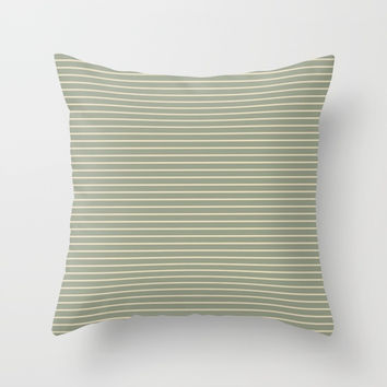 Seafoam Neutral Striped Palette Throw Pillow by Sheila Wenzel