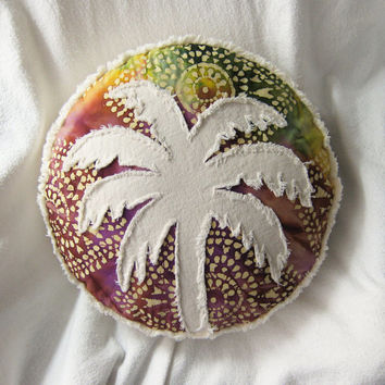 Palm tree pillow rainbow tie dye batik and distressed denim round boho pillow