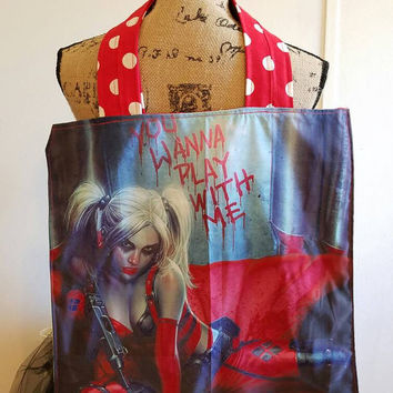 Harley - Quinn - suicide  - squad - suicide  - girls - sexy -  pinup - rockabilly  - Retro  - punk - goth - lined - bag - purse - tote