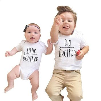 CREYONJ 2017 Babies Brothers Matching Clothing Little Baby Boy Bodysuit Big Brother T-shirt Tops Letters Clothes