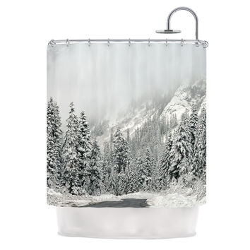 "Robin Dickinson ""Winter Wonderland"" White Gray Shower Curtain"