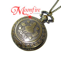 ALICE IN WONDERLAND Alice and the Cheshire Cat Pocket Watch Necklace