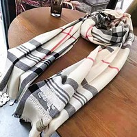 Burberry Fashion New Embroidery War Horse Letter Stripe Scarf Women