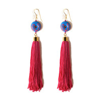 Donut Fringe Earrings- Blue