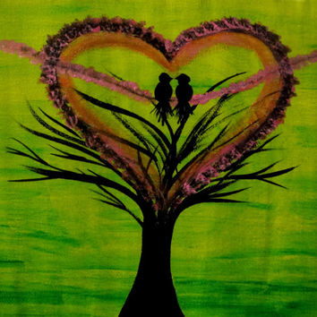 Love birds Wedding Valentine gift Heart shape Lovers gift Love Flower tree art Acrylic painting Canvas Quote Wall decor Birds on tree