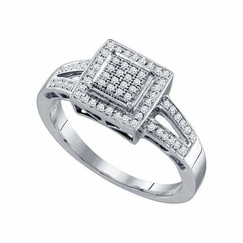 10kt White Gold Women's Round Diamond Square Cluster Bridal Wedding Engagement Ring 1-5 Cttw - FREE Shipping (USA/CAN)