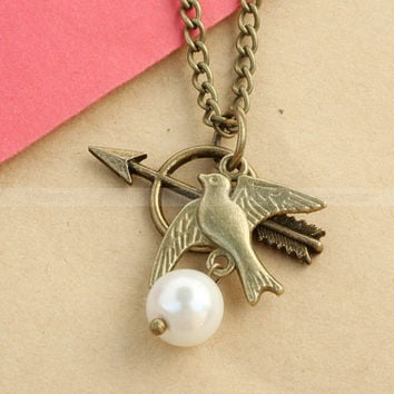 The Hunger Games Necklace - Katniss Bow with Mockingjay and Peeta Pearl combination design inspired by The Hunger Games