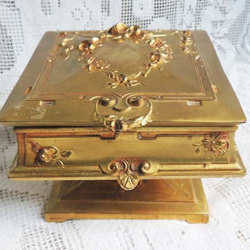 Antique Art Nouveau WB Weidlich Bros. Jewelry Casket Trinket Box Ormolu