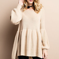Apparel- Brenna  Baby Doll Sweater with Bell Sleeves