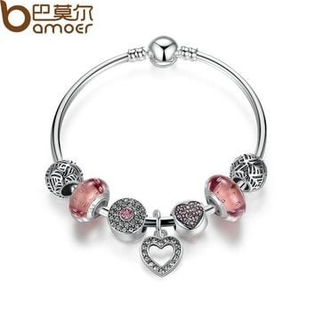 BAMOER Simple Friendship Bracelets Silver Color Heart Pendant Bracelets with European Beads Girl Bracelet Jewelry PA3805