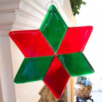 Transparent Red and Green Star Fused Glass Christmas Ornament - 6 Inch