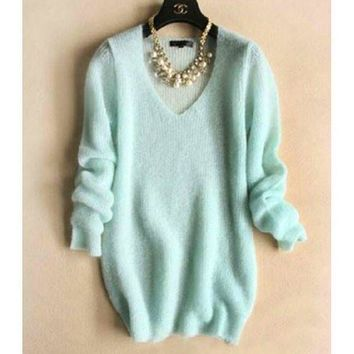 NOV9O2 FASHION V-NECK KNIT SWEATER